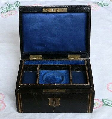 Antique Leather Jewellery Box with Shelf and Watch Holder