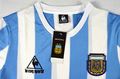 Argentina home 1986 retro soccer football shirt jersey (Le Coq Sportif)