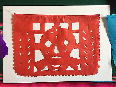Day of the Dead or Halloween bunting. paper banner, made in mexico. 3 metres.