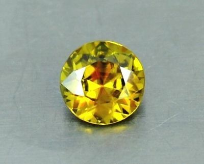 1.40 Ct IF Stunning Round Cut Yellow Natural Sphene Titanite Gemstone 7 x 7 mm