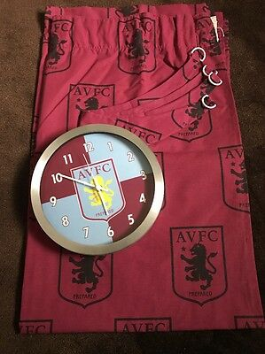 Aston Villa Football Curtains And Wall Clock