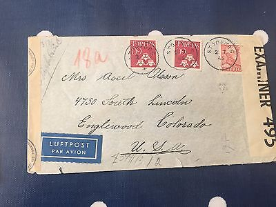 Sweden rare Storfors to Colorado USA cover 2.7.1943 double censored  lovely item