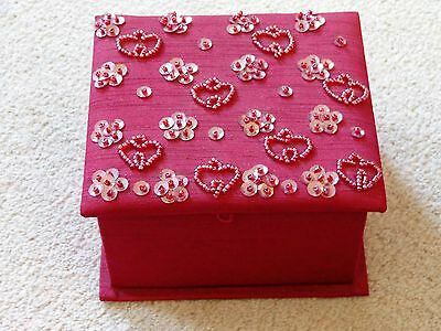 Red Padded Trinket Box Sequin and Beaded Decoration