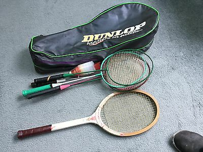 1970's Dunlop Tennis Bag And Racket