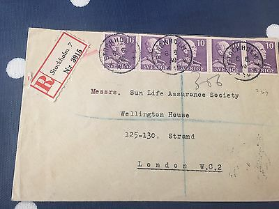 Sweden from Stockholm to London cover 6.6.1939 registered nice item