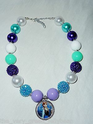 New Custom Boutique Disney Frozen Anna Chunky Bead Necklace
