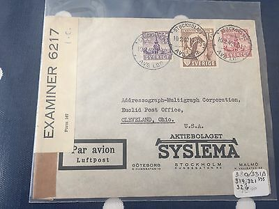 Sweden from Stockholm to Cleveland USA cover 10.2.1942 censored nice item