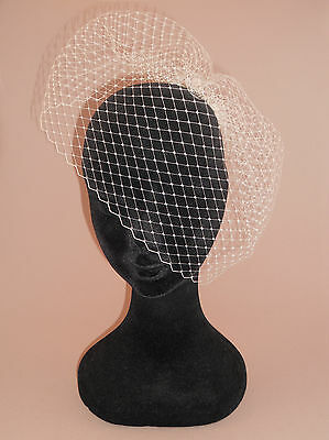 Invisible Fastening, Removable Birdcage Veil for under combs & bands. Made in UK