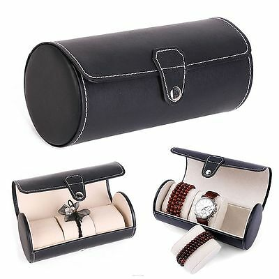 Holder Grids Watch Display Box PU Leather 3 Slots Jewelry Storage Case