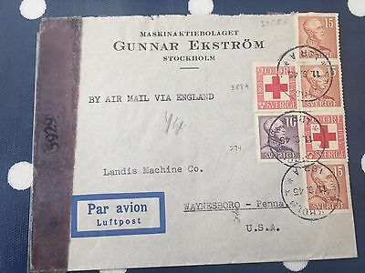 Sweden from Stockholm to Waynesboro USA cover 17.6.1945 censored