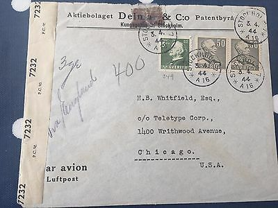 Sweden from Stockholm to Chicago USA cover 3.4.1944 censored