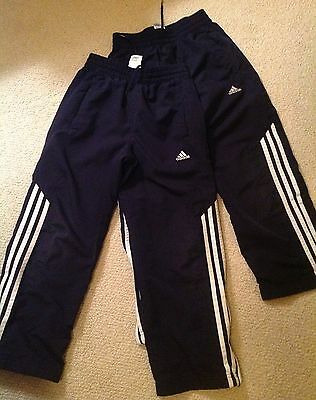 2Pair Adidas Boy/girl Navy Blue Mesh Lined, Zip Ankle Poly. Athl.pants, S-8