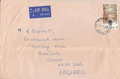 N 529 Subiaco  WA October 1980 air cover UK; $2 Heysen gums solo stamp usage