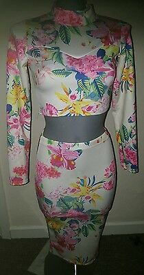 MISSLOOK floral stretchy bodycon outfit size 6-8