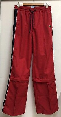 DB10 Vintage LACOSTE 90s 80s TRACKSUIT BOTTOMS TROUSERS PANTS Red Size 10