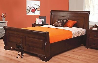 Lavish Sweet Dreams Jackdaw Solid Wooden Sleigh Bed Frame In King Size *free P&p