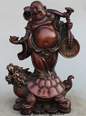 Chinese Bronze Gilt Wealth Yuanbao Happy Laugh Maitreya Buddha Turtle Statue