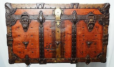 ANTIQUE TRUNK IRON STRAPPING VINTAGE AMERICAN TRUNK Co MAKER CINCINNATI OH U.S.A