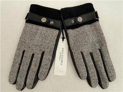 VERSACE Collection Men's Leather Wool Gloves SZ M -GREAT GIFT! RRP230GBP