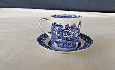 "VINTAGE ""Willow"" CUP & SAUCER ~ Burselm England ~  W.R. MIDWINTER LTD ~ Small"