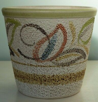 Lovely Langley Mill Pottery Textured Plant Pot - England - signed JR/RC 10/6