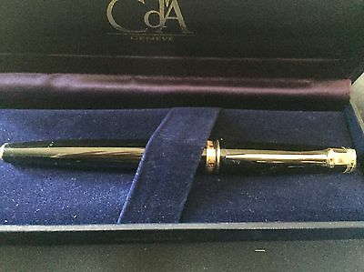 CARAN d' ACHE Ebony Black laquered gold plated rollerball