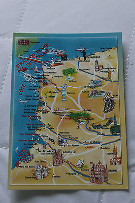 Strait of Dover - Pas De Calais France  Map Postcard