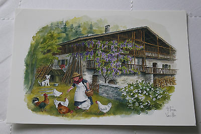 """La Vie en Montagne"" Feeding the Chickens, Mythra Editions  France Postcard"