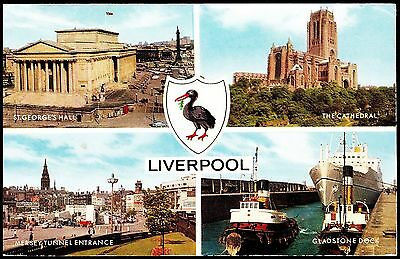 Postcard -  Liverpool 4 Views Posted 1968 Stamp Intact