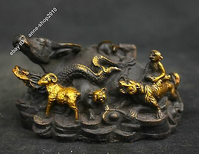 """4"""" Chinese Old Antique Pure Bronze Gilt Lucky 12 Zodiac OX Cow Cattle Sculpture"""