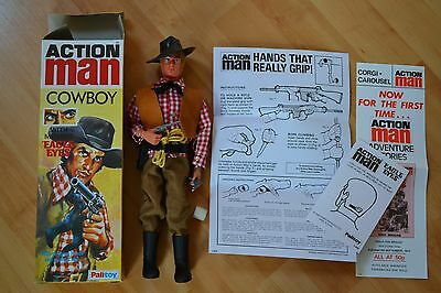 Action man 40th  eagle eye cowboy with gripping hands, box & paperwork