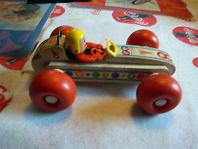 VINTAGE FISHER PRICE BOUNCY RACER WOOD CAR   1960's