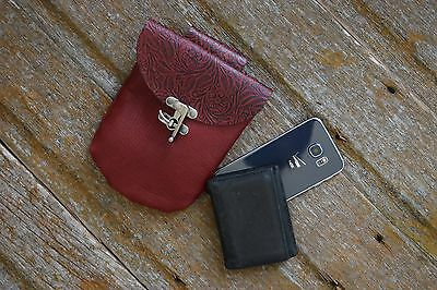 Handmade Red and Black Leather Belt Pouch - Renaissance Festival, LARP, SCA