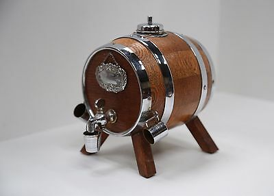 Small Vintage Oak and Chrome banded pub whiskey barrel/cask with cups on legs