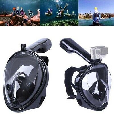 New Black Swimming Full Face Surface Diving Snorkel Mask Scuba For Swim GoPro L