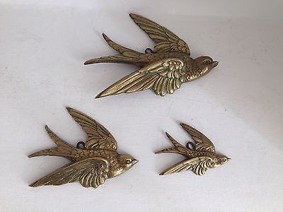 Vintage Kitsch 1950's Set Of 3 Brass Wall Flying Birds.