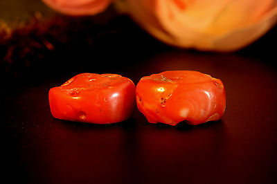 1000 + Years Old Mediterranean Red Coral Loose Beads Amulet 仿古珊瑚珠 Size 5x13 Dia