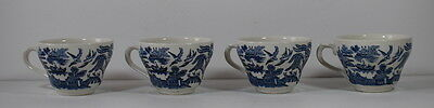 Four Blue & White Willow Pattern Tea Cups By Churchill England