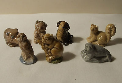WADE PORCELAIN WHIMSIES x 7 RHINO BEAR OWL MOUSE SEAL PINE MARTEN 70's 80's