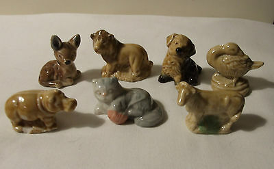 WADE PORCELAIN WHIMSIES x 7 FAWN LION MONGREL GOOSE HIPPO KITTEN COW 1970's 80's