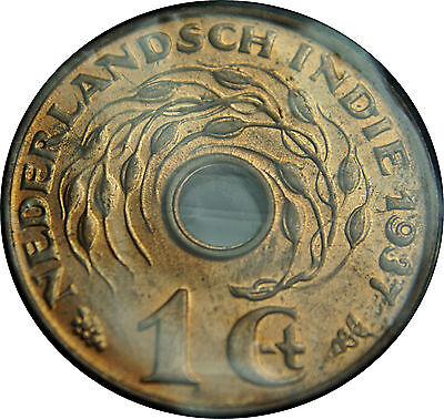 Holland Netherlands Dutch EAST INDIES 1 cent 1937  Red B. UNCIRCULATED    (2899)