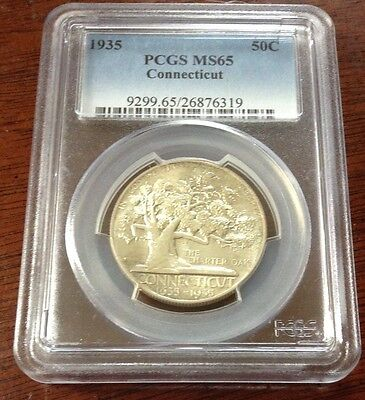 1935 Connecticut Commemorative Half Dollar Pcgs Ms 65