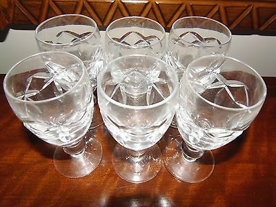 Genuine 1950's Waterford Crystal cut small port glass 6 set,stamped