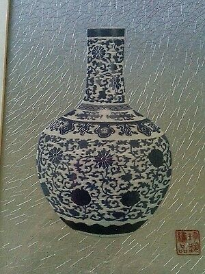 Chinese Vintage silk embroidered blue white vase maybe by famous Gu / Family