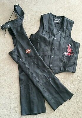 Genuine HARLEY DAVIDSON LEATHER CHAPS & High Rollers VEST Perfect Condition