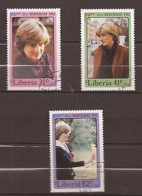 LIBERIA  -  COMPLET SET  -  21st BIRTHDAY OF PRINCESS DIANA