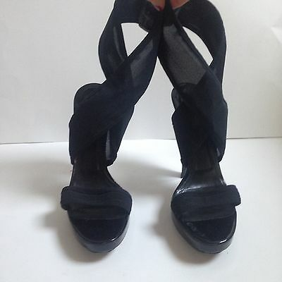 Burberry Black High Heels Lace Up - Sandali Con Tacco A Spillo Burberry
