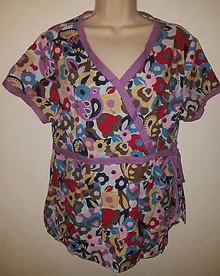 ~* Womens Koi By Kathy Peterson Nurses Scrub Top Large *~