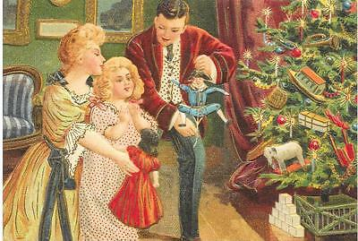 Antique Style Presents Post Card Family Christmas Tree Doll Dolls Decorations