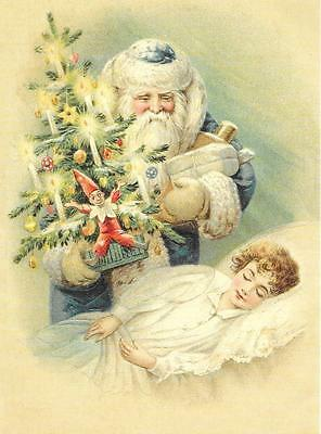 Antique Style Embossed GB Post Card St Nicholas Santa Claus Father Christmas